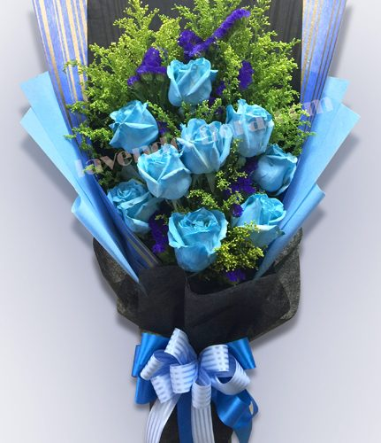9 stks Blue Roses Bouquet RM 180 copy
